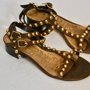 Sam Edelman T-Strap Brown Sandals with Brass Studs
